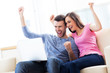 Excited couple with laptop