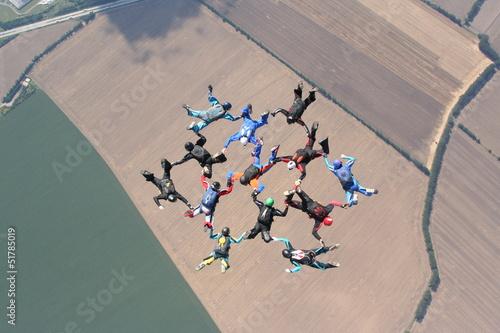 Tuinposter Luchtsport RW-Fallschirmformation