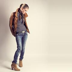 Fashion girl. Beautiful glamour stylish model in leather