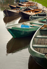 Old Boats Parked in a Canal