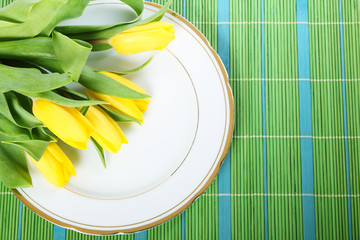 Tulips on plate