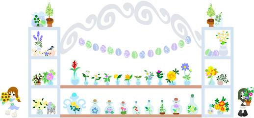 ヒマワリやアサガオ、ラベンダー、色々な夏のお花が売っているかわいいお店。