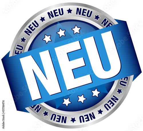 """Button Banner """"NEU"""" blau/silber"""