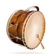 Traditional Turkish drum, isolated on white background
