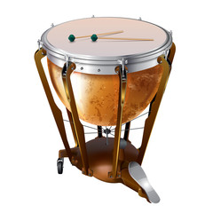 Classical timpani drum, isolated on white background