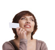 senior woman with business card