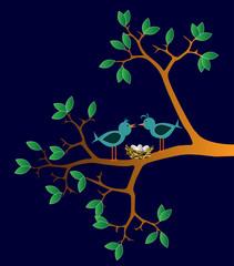 illustrazioni di uccelli con nido su un ramo