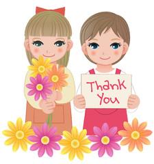 女の子 メッセージ ありがとう Little girls holding thank you sign and flowers