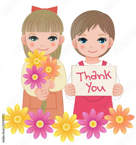 女の子 メッセージ ありがとう Little girls holding thank you sign and flowers