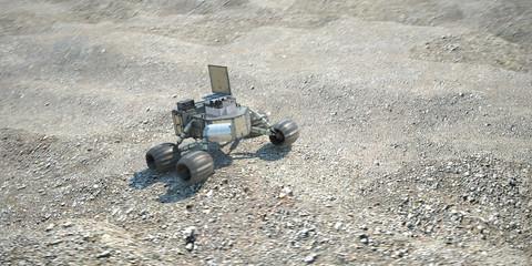 scientific robot moving on alien desert soil 3d illustration