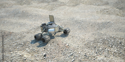 scientific robot moving on alien desert soil 3d illustration
