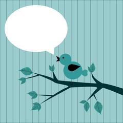 uccellino sul ramo con sfondo per scrivere