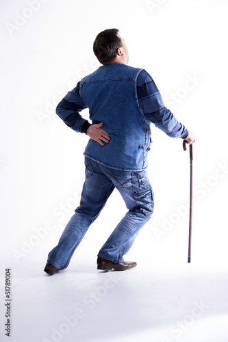 a young man with a cane