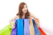 beautiful young woman holding  shopping bags
