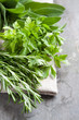 Herbs: sage, parsley, rosemary.