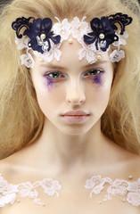 Gaze. Fantasy. Bright Charming Trendy Woman Blond. Futurism