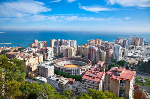 Malaga city panoramic view, Andalusia, Spain