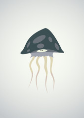 Cartoon grey jellyfish