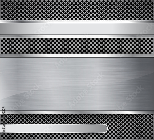 Brushed metal on textured metallic background