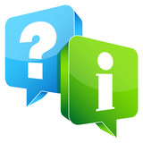 Speech Bubbles 3D Question Blue & Information Green