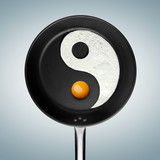 Yin and yang. A fried egg philosophy. poster