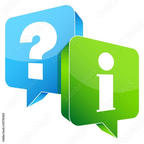 Speech Bubbles 3D Question Blue & Information Green