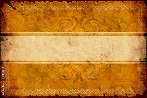 Spoed canvasdoek 2cm dik Retro Vintage Label - Muster auf Gold