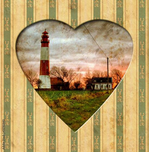 Papiers peints Affiche vintage Vintage Heart - Leuchtfeuer