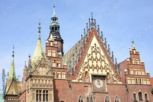 Dächer und Fassade Rathaus Wroclaw