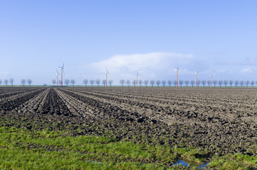 windmill farm in Almere, Netherlands