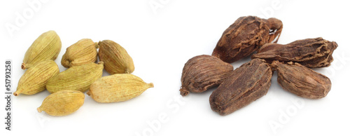 Two types of Cardamom seeds