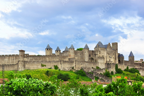 Beautiful view of old town of Carcassone in France