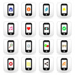 Phone icons with internet signs on screen.
