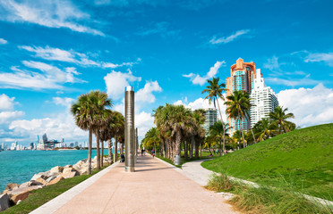 Walkway in a the beautiful park South Pointe in Miami Beach, Flo