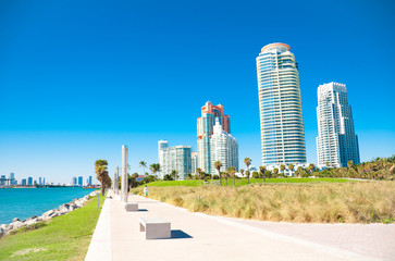 Miami Beach in Florida with luxury apartments and waterway