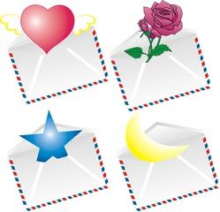 Векторные конвертики с подарками - сердцем, розой
