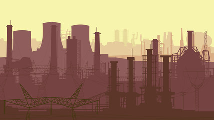 Abstract horizontal illustration industrial part of city.