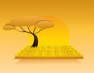 africa landscape and tree vector
