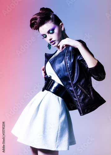 beautiful woman dressed elegant punk posing dramatic