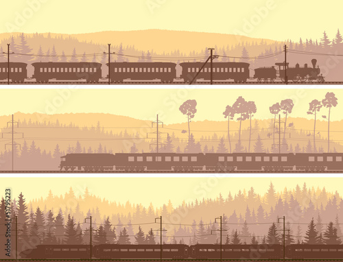 Horizontal banners of locomotive, train and hills coniferous woo