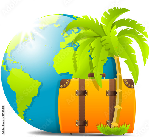 Earth, palm, 	luggage