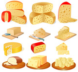 set of different types of cheese
