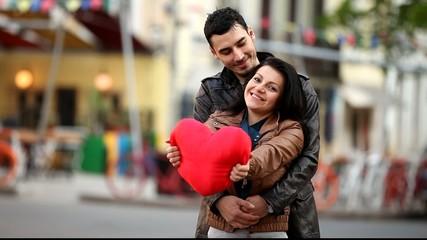 Couple with heart shape at otdoor