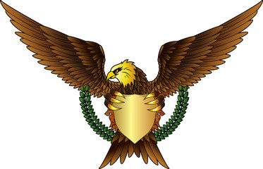 Spread winged eagle insignia with gold color