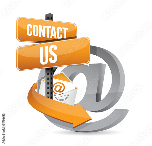 E mail contact us at sign illustration design
