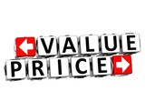 3D Value Price Button Click Here Block Text