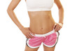 Woman's torso with toned abs.