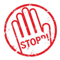 Stempel Stopp mit Hand rund