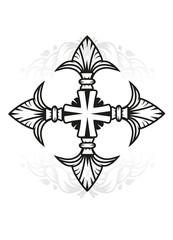 Kreuz mit stilisierten Lilien