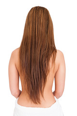 Woman In Towel With Long Brunette Hair Isolated On White